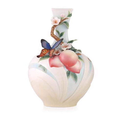 Franz Porcelain Vase Butterfly & Peach Limited Edition FZ03460
