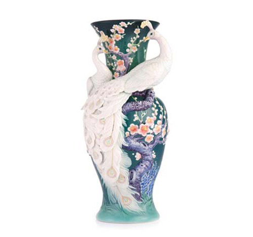 Franz Porcelain Vase White Peacock Limited Edition FZ03471