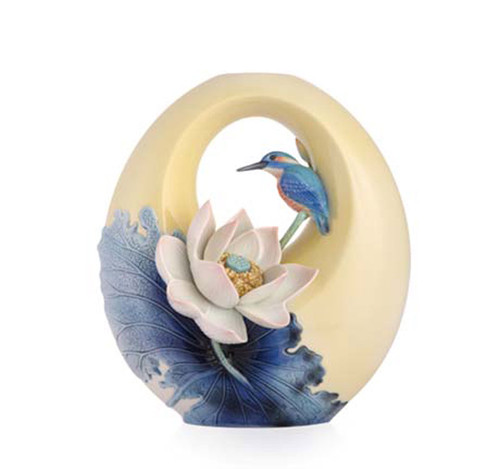 Franz Porcelain Vase Lotus & Kingfisher FZ03482
