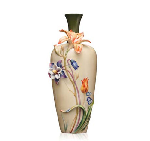 Franz Porcelain Vase Nepenthe Columbine Tulip FZ03639
