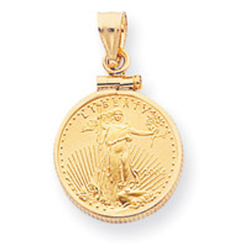 1 oz Mounted American Eagle Screw Top Coin Bezel 14k Gold BA10/1AEC