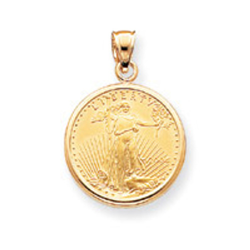 1oz Mounted American Eagle Polished Plain Bezel 14k Gold BA50/1AEC