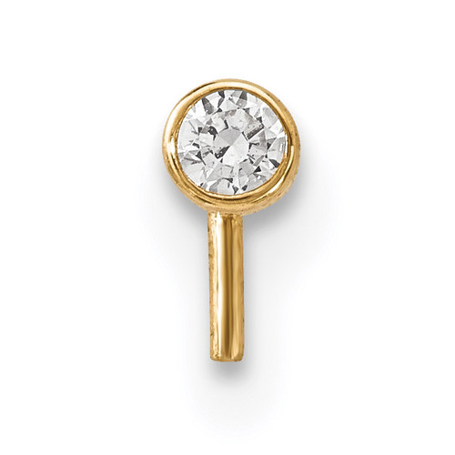 2.5mm CZ Nose Stud 14k Gold BD100