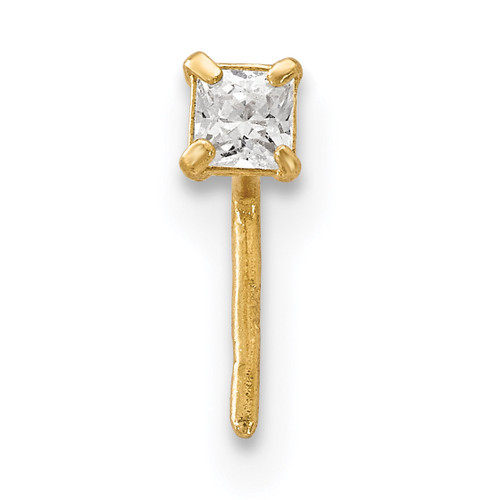 2.5 mm Square CZ Nose Stud 14k Gold BD111