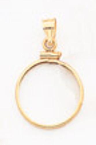 1/10 oz Mounted Panda Coin Screw Top Coin Bezel 14k Gold BP10/10PC