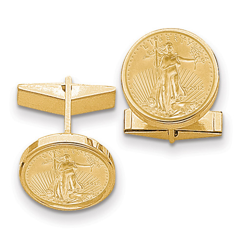 1/10oz Mounted American Eagle Polished Plain Bezel Cuff Links 14k Gold CL24C
