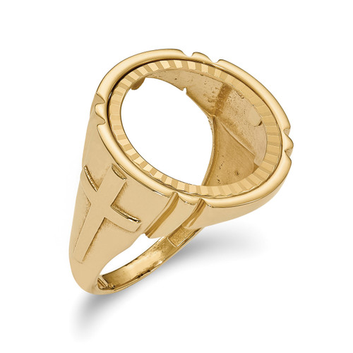 1/10AE Diamond -cut Coin Ring 14k Gold CR10D/10AE