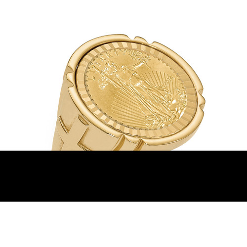 1/10AE Diamond -cut Coin Ring with coin 14k Gold CR10D/10AEC