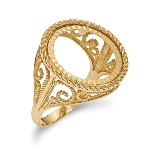 1/10AE Diamond -cut Coin Ring 14k Gold CR11D/10AE