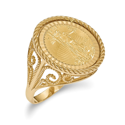 1/10AE Diamond -cut Coin Ring with coin 14k Gold CR11D/10AEC