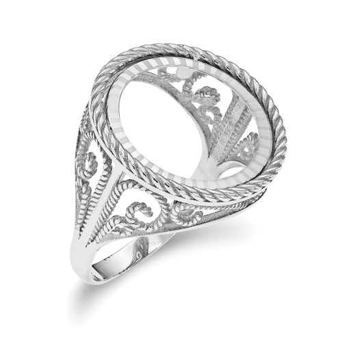 1/10AE Diamond -cut Coin Ring 14k white Gold CR11WD/10AE