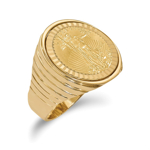 1/10AE Diamond -cut Coin Ring with coin 14k Gold CR12D/10AEC