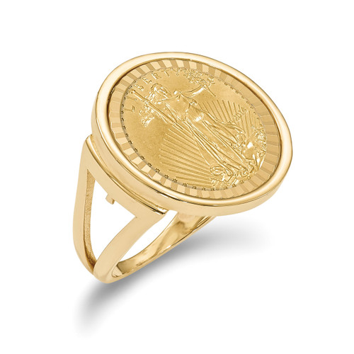 1/10AE Diamond -cut Coin Ring with coin 14k Gold CR13D/10AEC
