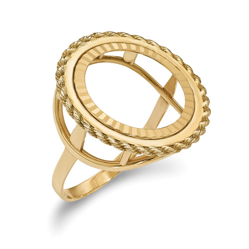 1/10AE Diamond -cut Coin Ring 14k Gold CR14D/10AE
