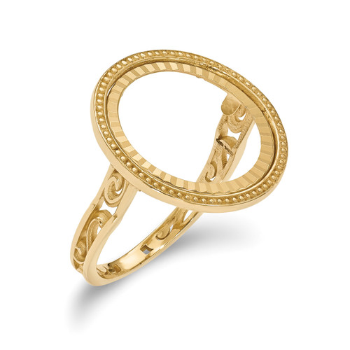 1/10AE Diamond -cut Coin Ring 14k Gold CR1D/10AE
