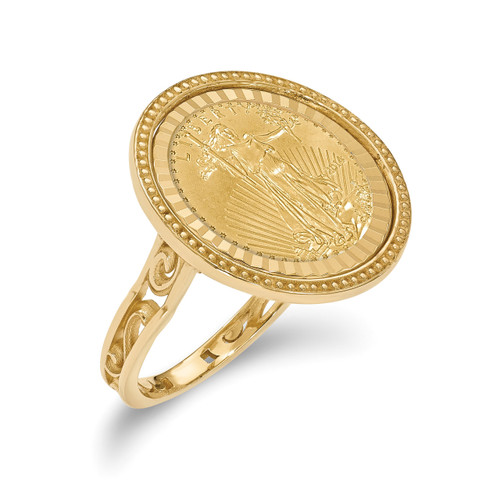 1/10AE Diamond -cut Coin Ring with coin 14k Gold CR1D/10AEC
