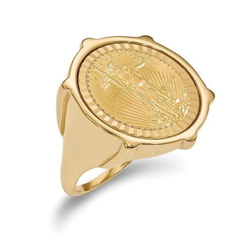 1/10AE Diamond -cut Coin Ring with coin 14k Gold CR2D/10AEC