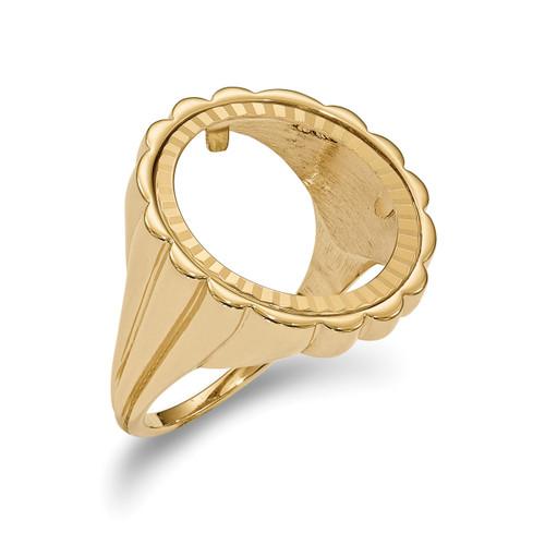 1/10AE Diamond -cut Coin Ring 14k Gold CR3D/10AE