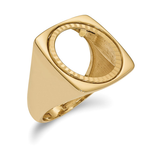 1/10AE Diamond -cut Coin Ring 14k Gold CR4D/10AE