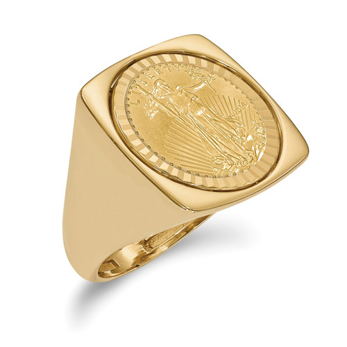 1/10AE Diamond -cut Coin Ring with coin 14k Gold CR4D/10AEC