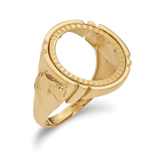 1/10AE Diamond -cut Coin Ring 14k Gold CR5D/10AE