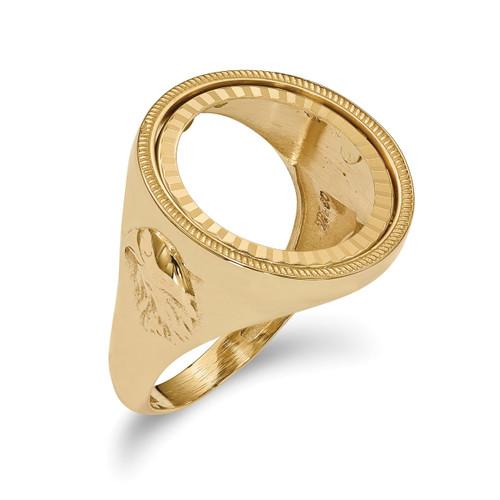 1/10AE Diamond -cut Coin Ring 14k Gold CR6D/10AE