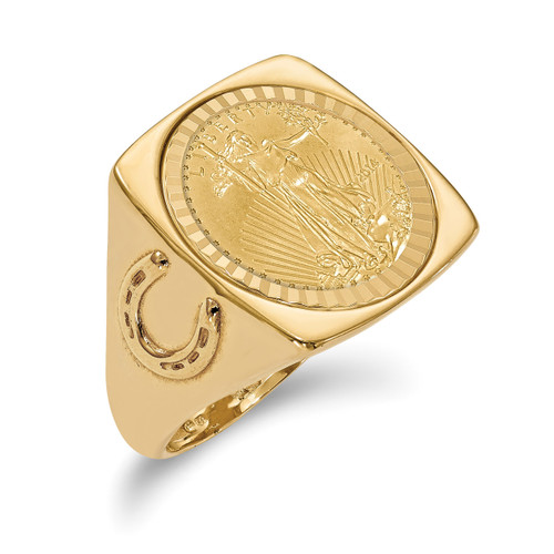 1/10AE Diamond -cut Coin Ring with coin 14k Gold CR7D/10AEC