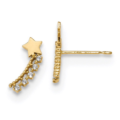 Madi K Kids CZ Shooting Star Post Earrings 14k Gold MPN: GK920