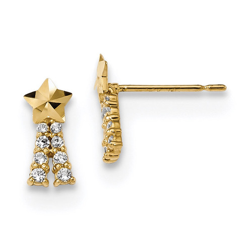 Madi K Kids CZ Shooting Star Post Earrings 14k Gold MPN: GK922