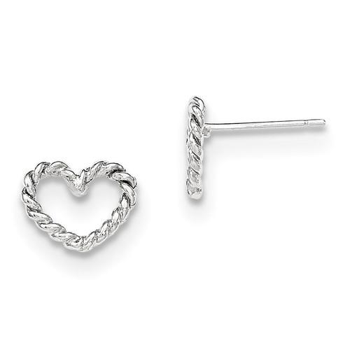 Heart Post Earrings 14k white Gold MPN: H1068 UPC: 191101453151