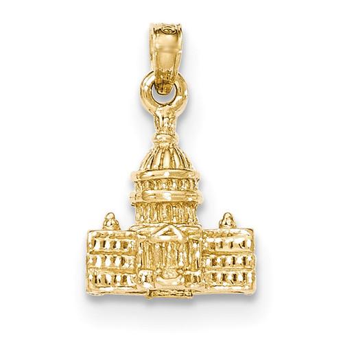 3-D Washington D.C. Capital Building Pendant 14k Gold K5400