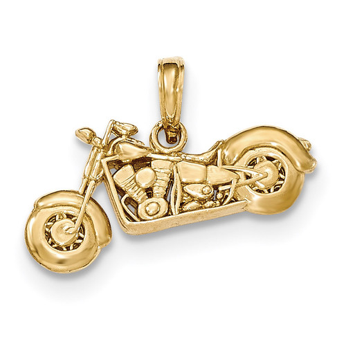 3-D Motorcycle Pendant 14K Gold Polished & Textured K5411