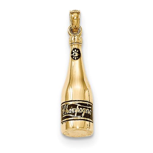 3-D Enameled Champagne Bottle Pendant 14k Gold Polished K5421
