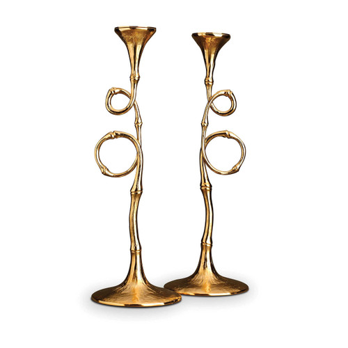 L'Objet Evoca Candlesticks Gold Set of Two 24k Gold-Plated