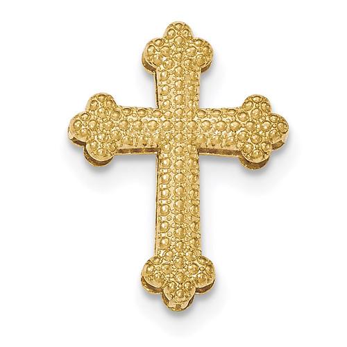 Beaded 2 Level Cross Chain Slide Pendant 14k Gold Polished K5519