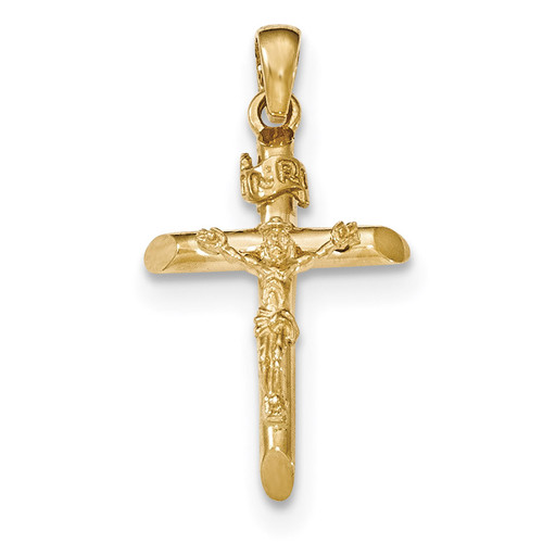 2-D Crucifix with Jesus on Cross Pendant 14k Gold Polished K5566