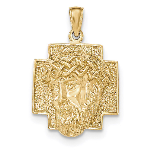 2-D Large Jesus Head with Crown Pendant 14k Gold Polished K5584