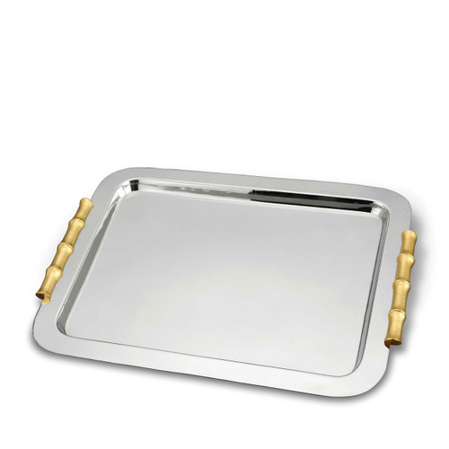 L'Objet Bambou Butler Tray 24k Gold-Plated Stainless Steel