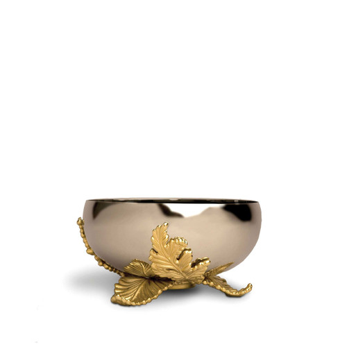 L'Objet Lamina Small Bowl Handcrafted Stainless Steel with 24k Gold-Plated leaf accents.