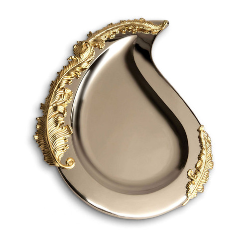 L'Objet Lamina Oval Platter Handcrafted Stainless Steel with 24k Gold-Plated leaf accents.
