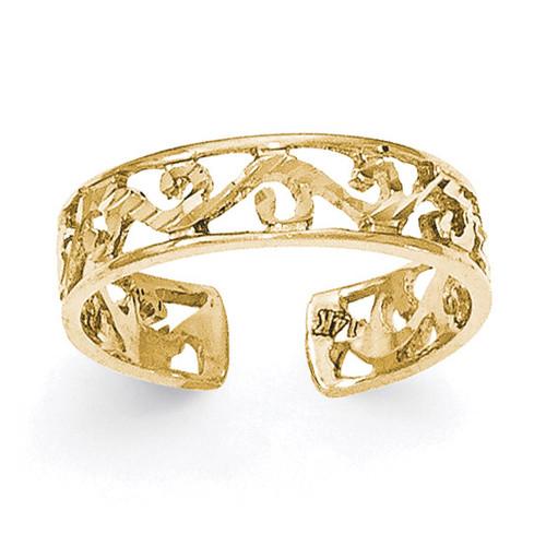 Diamond -cut Toe Ring 14k Gold Polished K5796