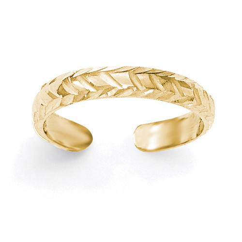 Diamond -cut Toe Ring 14k Gold Polished K5797