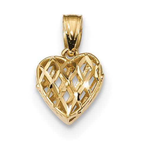 3D Puffed Lattice Heart Pendant 14k Gold Diamond-cut K5834
