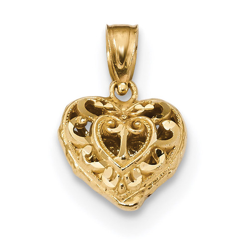 3D Filigree Puffed Heart 14k Gold Diamond-cut K5835