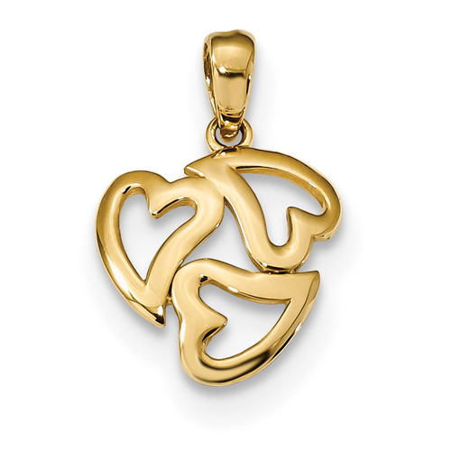 3-Heart Cut-out Pendant 14k Gold Polished K5856