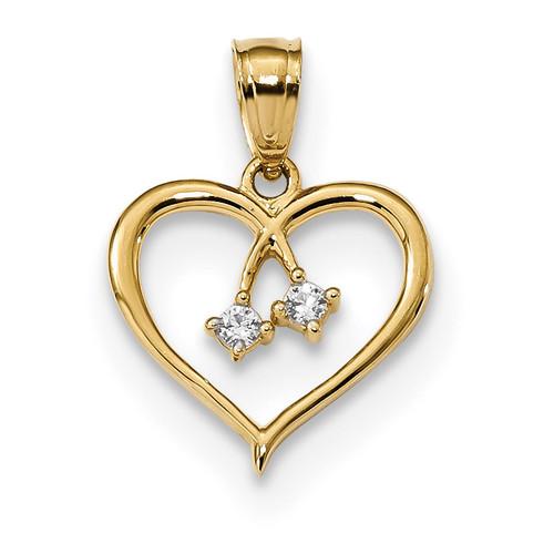2-CZ Cut-out Heart Pendant 14k Gold K5863