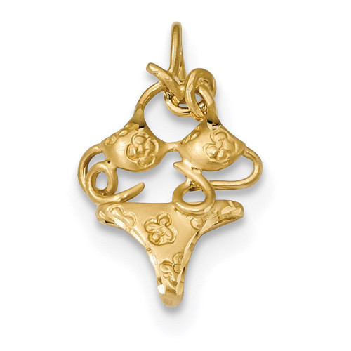 3-D Bikini Pendant 14k Gold Satin Diamond-cut K6083