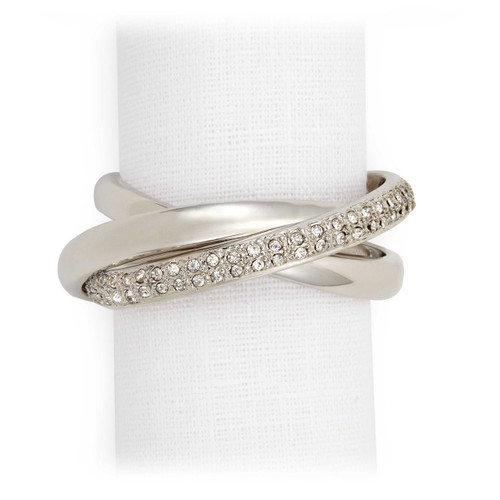 L'Objet Platinum with White Crystals Three-Ring Napkin Holder