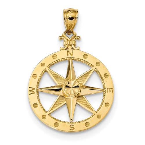 Satin Compass Pendant 14k Gold Diamond-cut Polished K6097