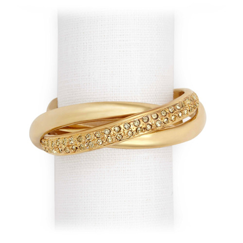 L'Objet Gold with Yellow Crystals Three-Ring Napkin Holder